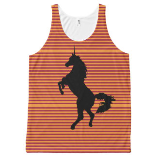 Unicorn, Orange Stripes on Burgundy. All-Over-Print Tank Top