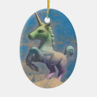 Unicorn Ornament - Oval (Sandy Blue)