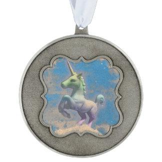 Unicorn Ornament - Pewter Framed (Sandy Blue) Scalloped Pewter Ornament