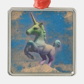 Unicorn Ornament - Square Premium (Sandy Blue)