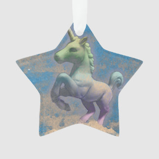 Unicorn Ornament - Star Ribbon (Sandy Blue)