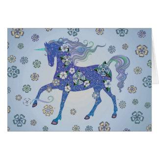 Unicorn Pale Blue in Flowers Card