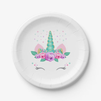 Unicorn Paper Plates, Unicorn Party Plates