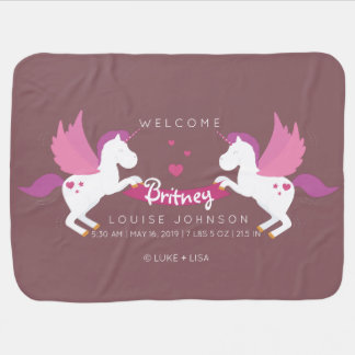 Unicorn Parents Welcome Baby Girl Birth Stats Receiving Blankets