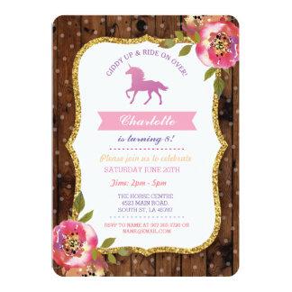 Unicorn Party Glitter Floral Invite Invitation