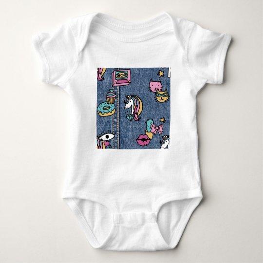 unicorn patches denim baby bodysuit