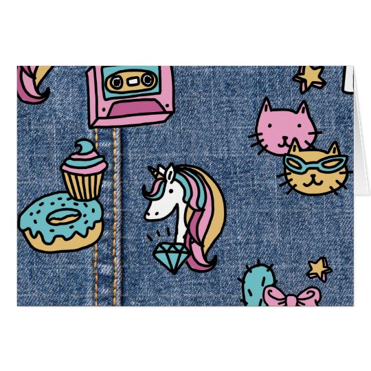 unicorn patches denim card