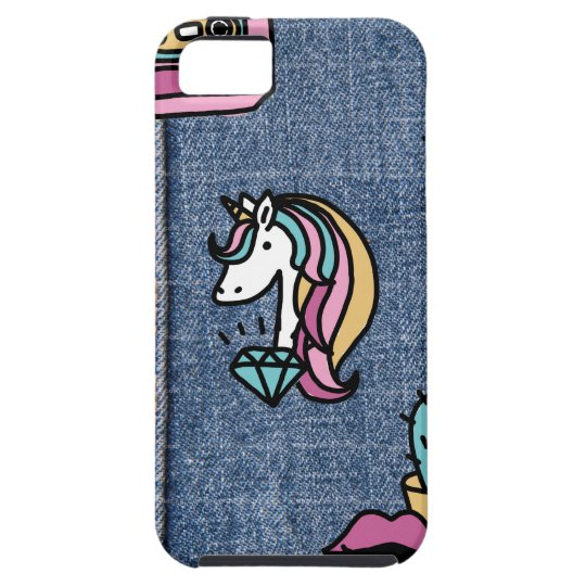 unicorn patches denim case for the iPhone 5
