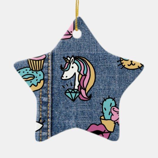 unicorn patches denim ceramic ornament