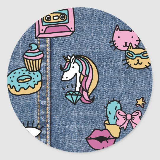unicorn patches denim classic round sticker