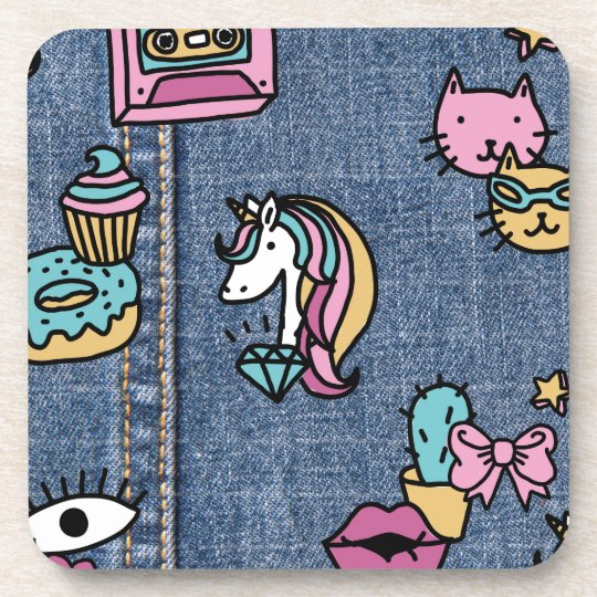 unicorn patches denim coaster