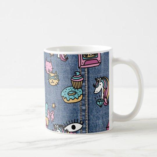 unicorn patches denim coffee mug