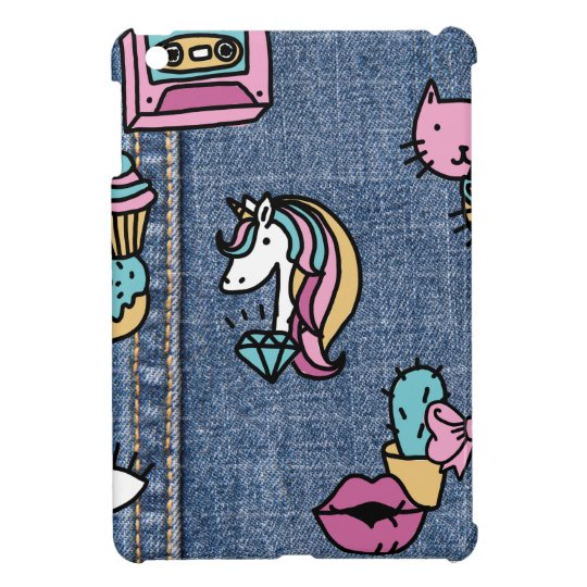 unicorn patches denim cover for the iPad mini