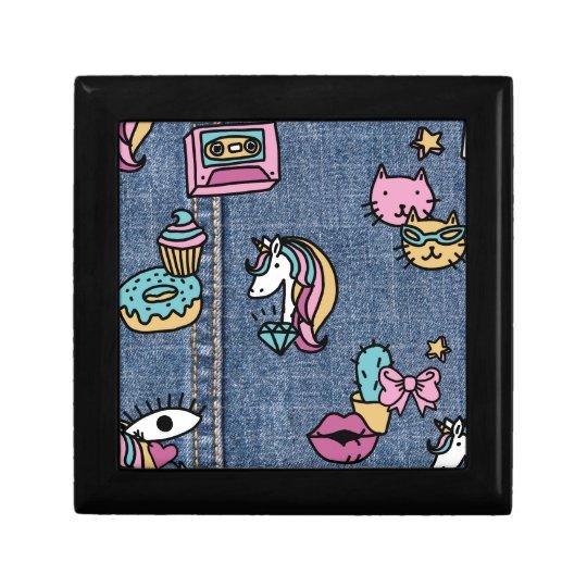 unicorn patches denim gift box