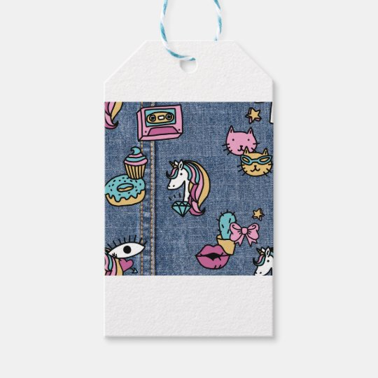 unicorn patches denim gift tags