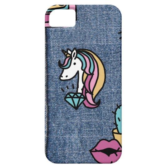 unicorn patches denim iPhone 5 case
