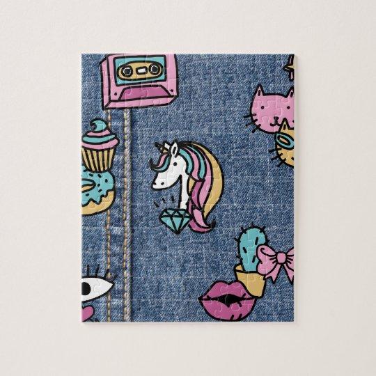 unicorn patches denim jigsaw puzzle