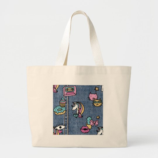 unicorn patches denim large tote bag