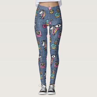 unicorn patches denim leggings