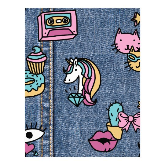 unicorn patches denim letterhead