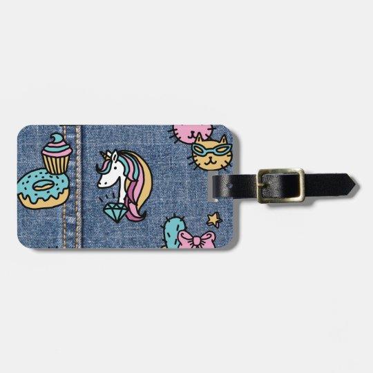 unicorn patches denim luggage tag