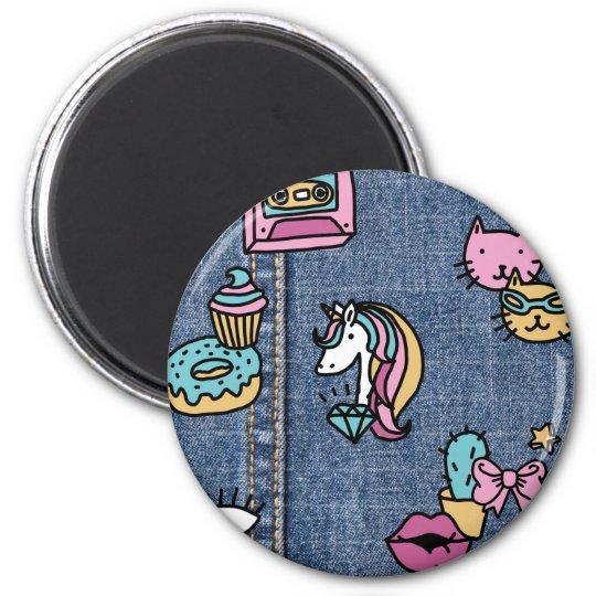 unicorn patches denim magnet