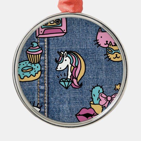 unicorn patches denim metal ornament