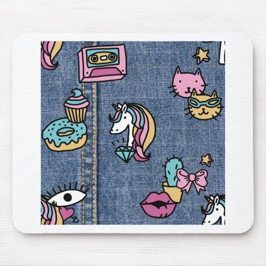 unicorn patches denim mouse pad