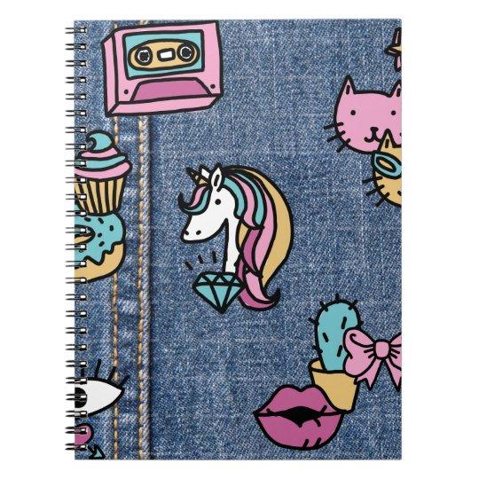 unicorn patches denim notebook