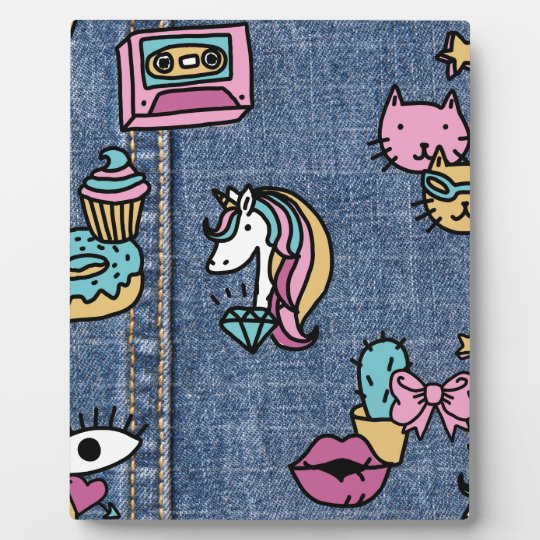 unicorn patches denim plaque