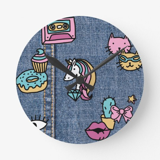 unicorn patches denim round clock