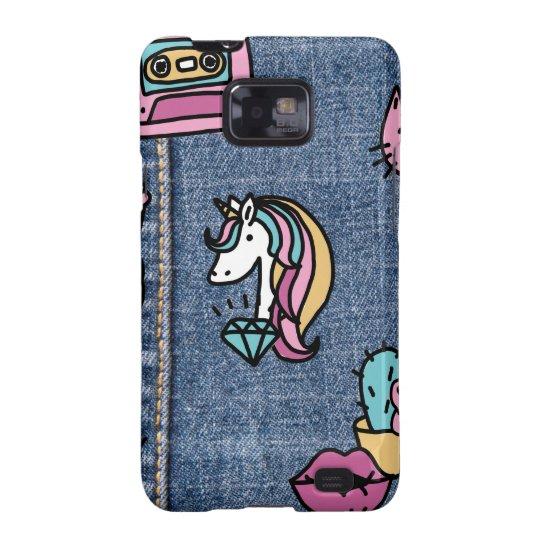 unicorn patches denim samsung galaxy s2 case