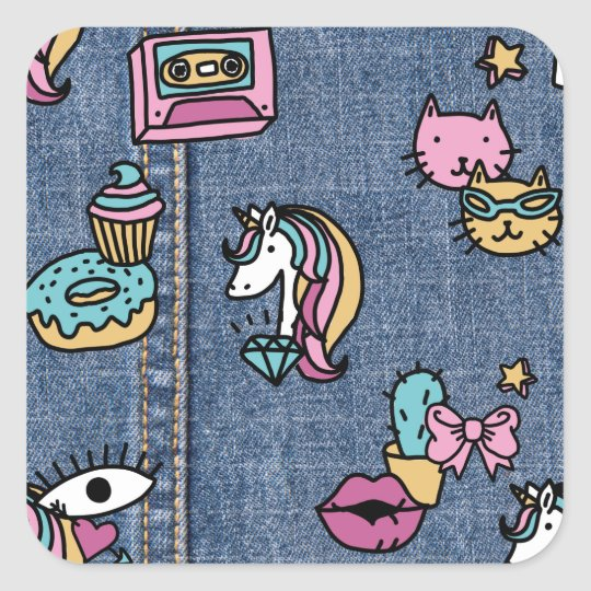 unicorn patches denim square sticker
