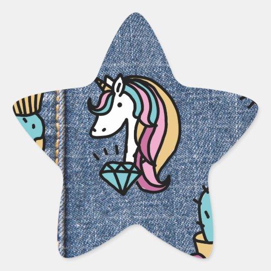 unicorn patches denim star sticker