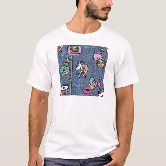 unicorn patches denim T-Shirt