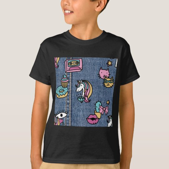 unicorn patches denim T-Shirt