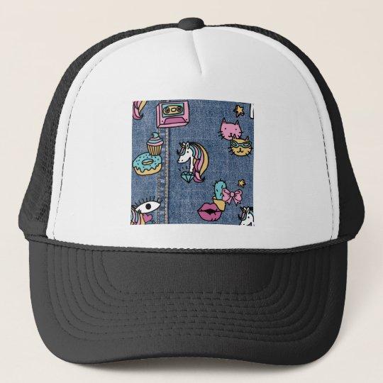 unicorn patches denim trucker hat