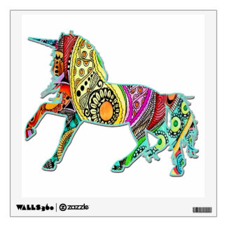Unicorn Pawing the Ground Colorful Wall Decal