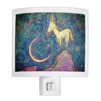 Unicorn Perched on a Mountain Looking at the Moon Night Lites