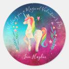 Unicorn Personalized Stickers - Valentine's Day