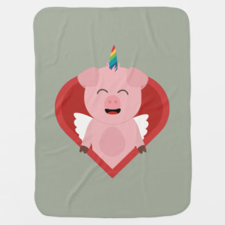 Unicorn Pig with Angelwings Z2h5i Baby Blanket