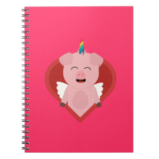 Unicorn Pig with Angelwings Z2h5i Spiral Notebook