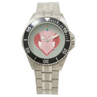Unicorn Pig with Angelwings Z2h5i Wristwatch