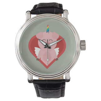 Unicorn Pig with Angelwings Z2h5i Wristwatches