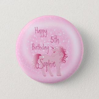 Unicorn Pink  Cute Girl Age Birthday 2 Inch Round Button