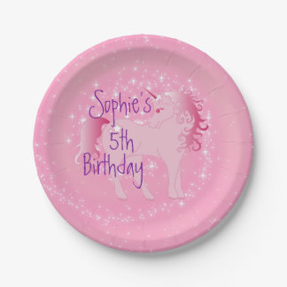 Unicorn Pink  Cute Girl Age Birthday Paper Plate