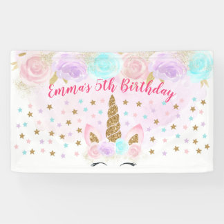 Unicorn Pink & Gold Birthday Banner