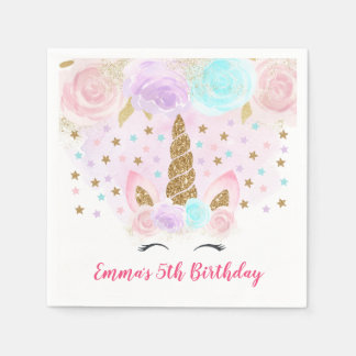 Unicorn Pink & Gold Birthday Paper Napkin