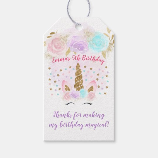 Unicorn Pink & Gold Birthday Thank You Gift Tags