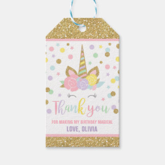 Unicorn Pink & Gold Party Favor Thank You Tag Pack Of Gift Tags